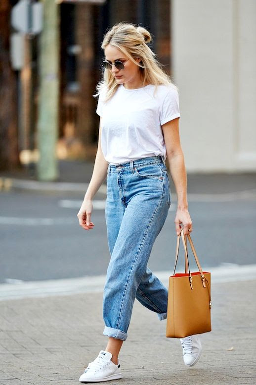 Le Fashion Blog Blogger Style Round Sunglasses Half Up Top Knot White Tee Vintage Boyfriend Jeans Adidas Stan Smith Sneakers Brown Leather Tote Bag Via Brooke Testoni