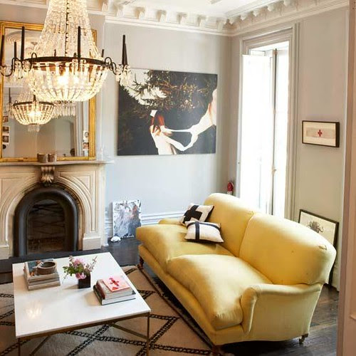 yellow velvet sofa via decorpad