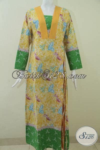 baju gamis batik  ukuran xl warna kuning hijau