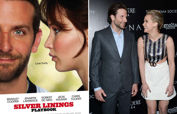 "SILVER LININGS PLAYBOOK, l-r: Bradley Cooper, Jennifer Lawrence on Swiss poster art in English; Actors Bradley Cooper and Jennifer Lawrence attend a special screening of ""Serena"", hosted by The Cinema Society and Dior Beauty, at the Landmark Sunshine Cinema on Saturday, March, 21, 2015, in New York."
