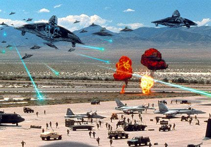 Alien attackers strike a military airbase in INDEPENDENCE DAY.