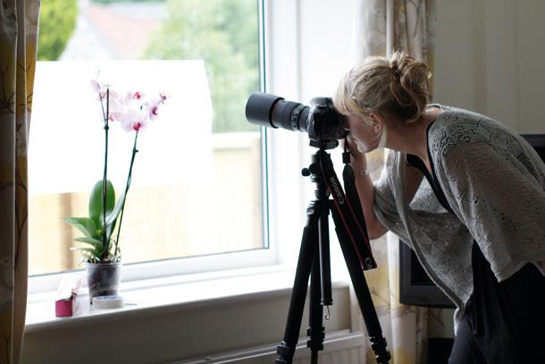 Chica tomando una fotografía hacia una planta cerca de la ventana