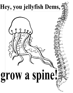 Hey, you jellyfish Dems, grow a spine! (design copyright 2007 by Katharine O'Moore-Klopf)