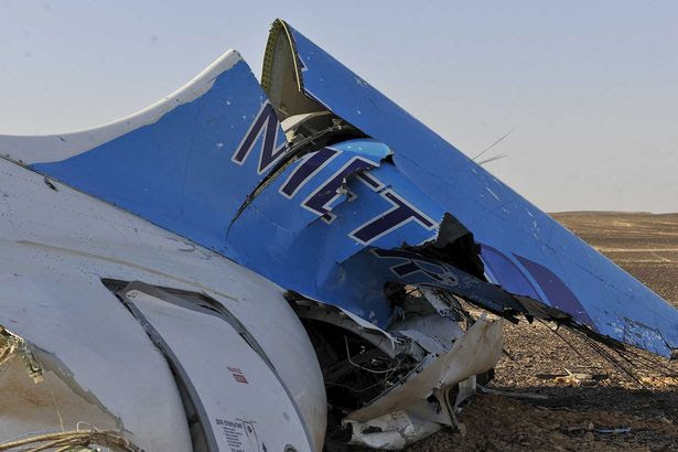 The remains of a Russian airliner which crashed is seen in central Sinai near El Arish city