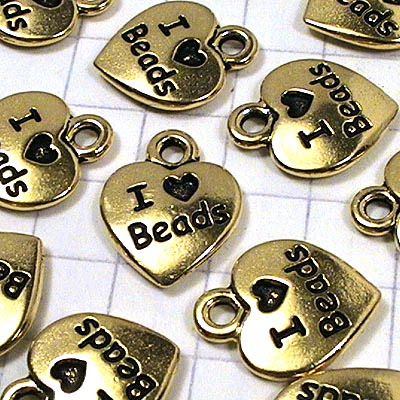 tc94-2203-26 Metal Charm -  I Love Beads - Antiqued Gold (1)