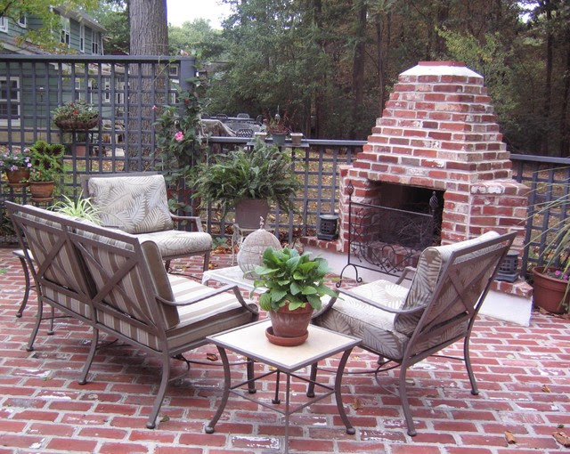 Outdoor brick fireplace - Traditional - Patio - philadelphia - by ...