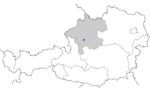 Map of Austria, position of Pinsdorf highlighted