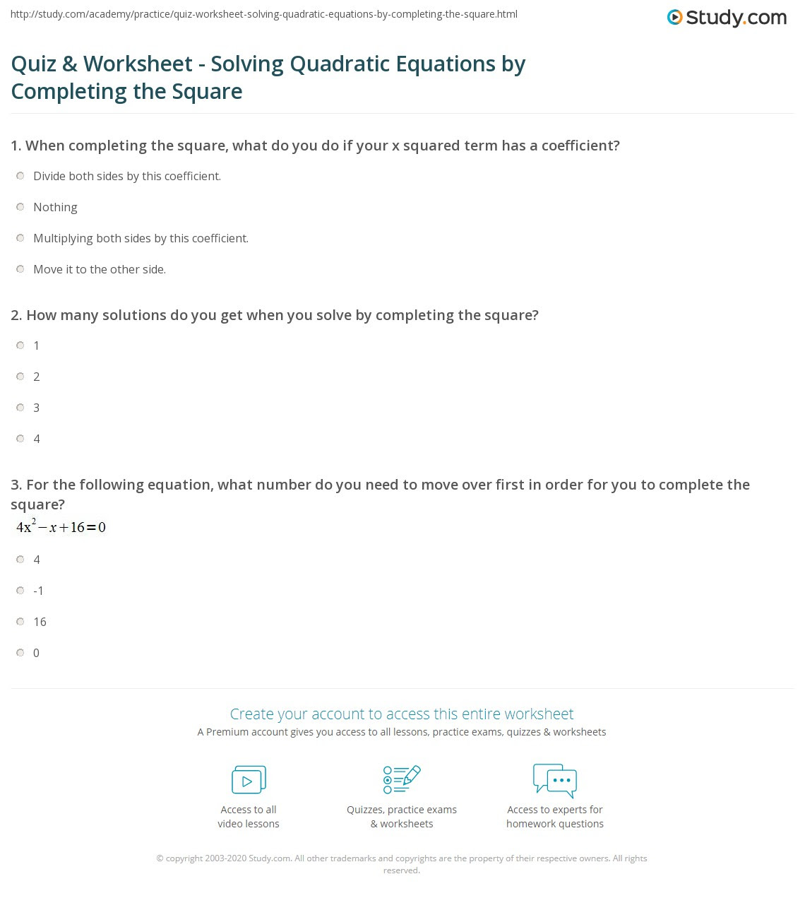 Quiz  Worksheet  Solving Quadratic Equations by Completing the Square  Study.com