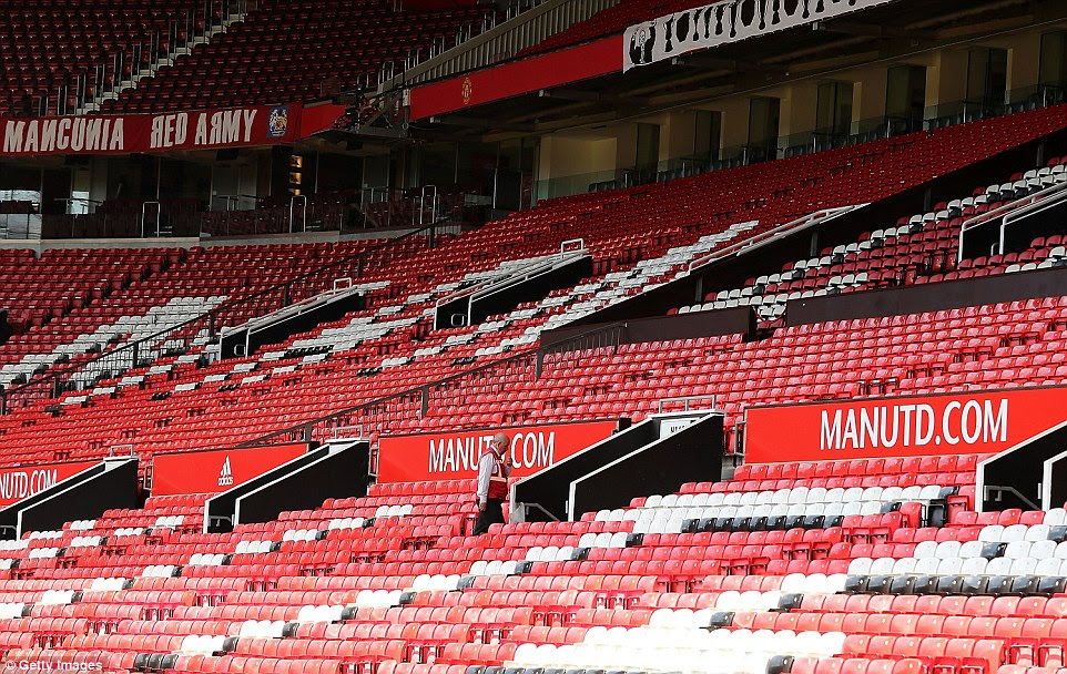 Empty stands at Old Trafford following the evacuation of the 76,000-seater stadium this afternoon due to a 'code red' security warning