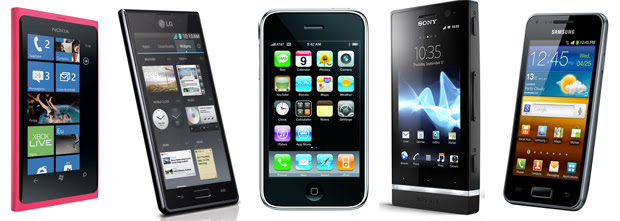 Lumia 800, Optimus L7, iPhone 3GS, Xperia U e Galaxy S2 Lite (Foto: Divulgação)