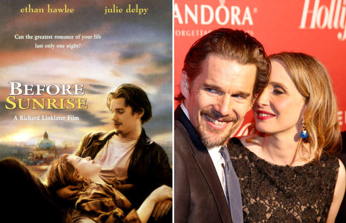 BEFORE SUNRISE, Poster Art, Ethan Hawke, Julie Delpy, 1995 POSTERS; IMAGE DISTRIBUTED FOR THE HOLLYWOOD REPORTER - Ethan Hawke, left, and Julie Delpy arrive at The Hollywood Reporter Nominees Night presented by Cadillac, Bing, Delta, Pandora jewelry, Qua, and Zenith, at Spago on Monday, Feb. 10, 2014, in Beverly Hills, Calif.