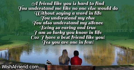 A Friend Like You Is Hard To Find Friends Forever Poem