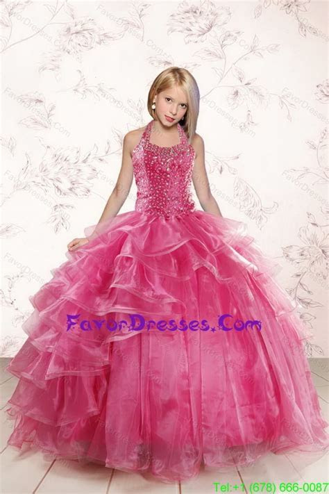 2015 Beautiful Pink Little Girl Pageant Dress with Beading