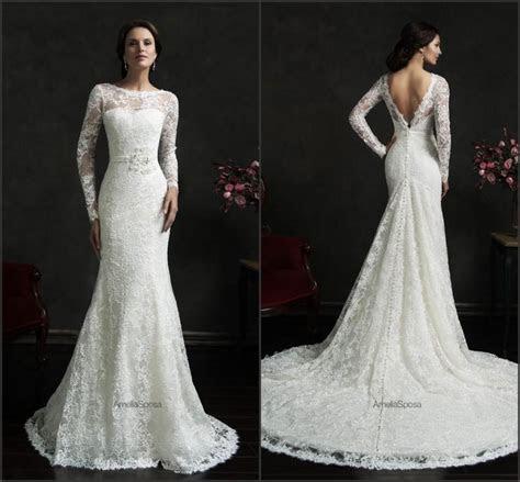 2015 Amelia Sposa Wedding Dresses Sash Lace Illusion