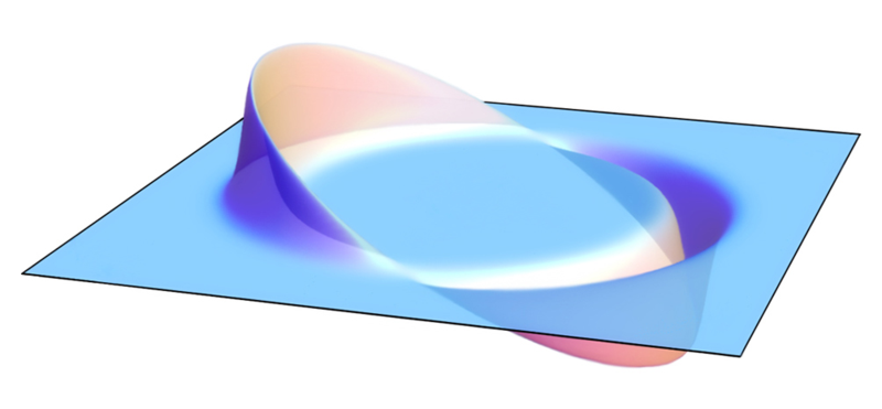Concept of the Alcubierre drive, showing the opposing regions of expanding and contracting spacetime that propel the central region