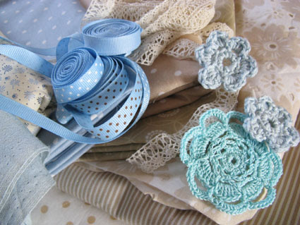 neutrals-beige and blue with embellishments