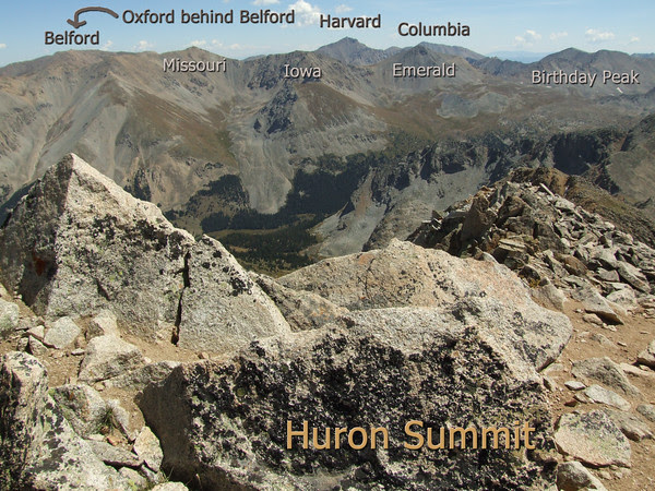 Collegiate Peaks view from the summit of Huron Peak