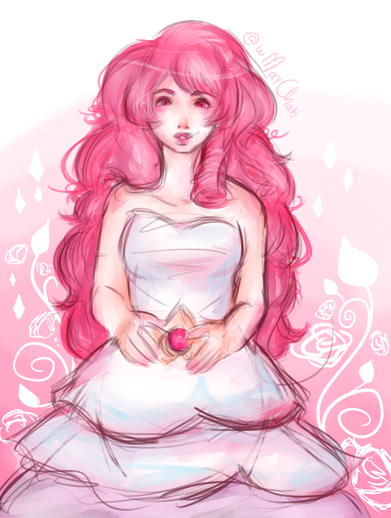 sketch + paint of Rose Quartz, from Steven Universe Brush test Hope u all enjoy it ♥