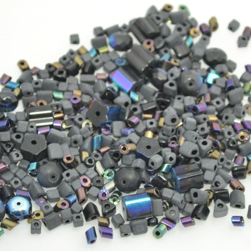 s39860 Bead Mix -  Pressed Glass Mix - Uncle Matte Black (100 grams)