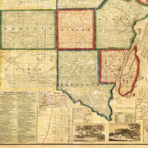 Map Of Detroit Michigan 1860 Giant Map Vintage Print