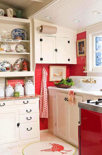 Love the open cupboards and that old farmhouse sink