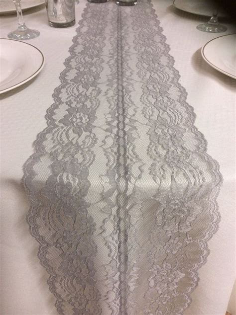 GRAY/SILVER Weddings! Lace Table Runner, 3ft 10ft long x 7