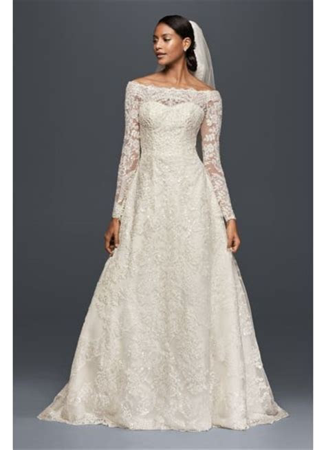 Off The Shoulder Lace A Line Beaded Wedding Dress   David