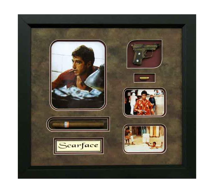 Framed Art Al Pacino Scarface Replica Gunbullets And Real Cigar