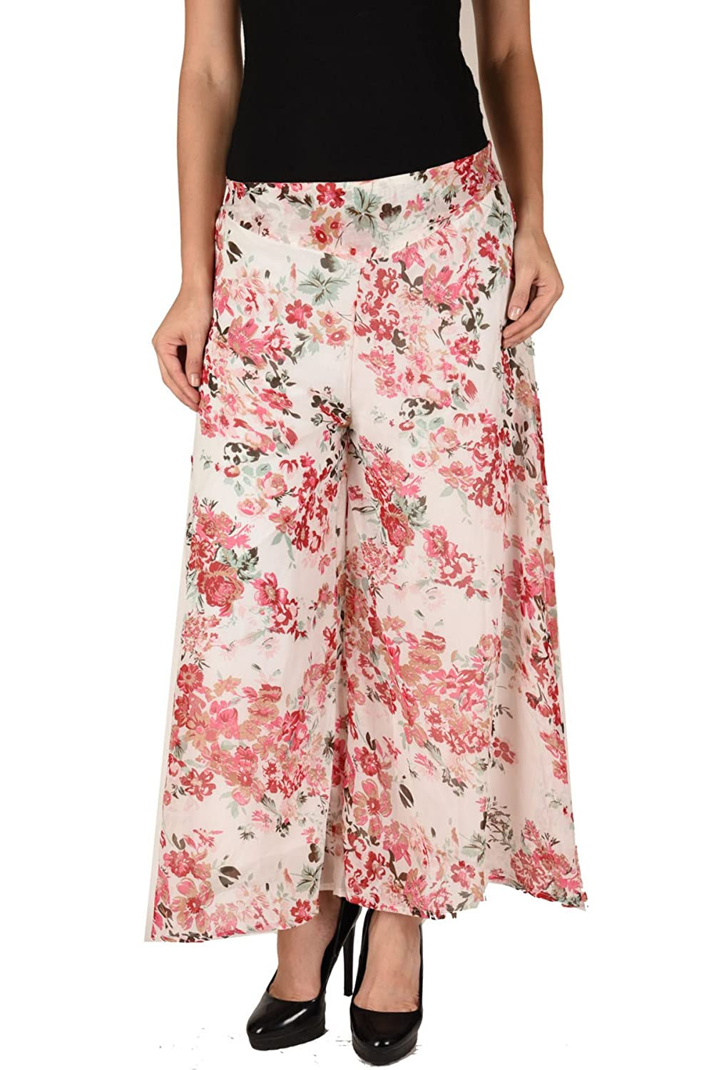 Deals on  Women Stylish Floral Print Georgette Plazzo