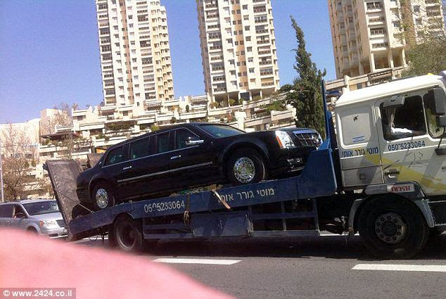 The downed 'Beast': President Obama's armored limo broke down in Tel Aviv this morning as it was headed to the airport after the driver mistakenly put gas in the engine instead of diesel