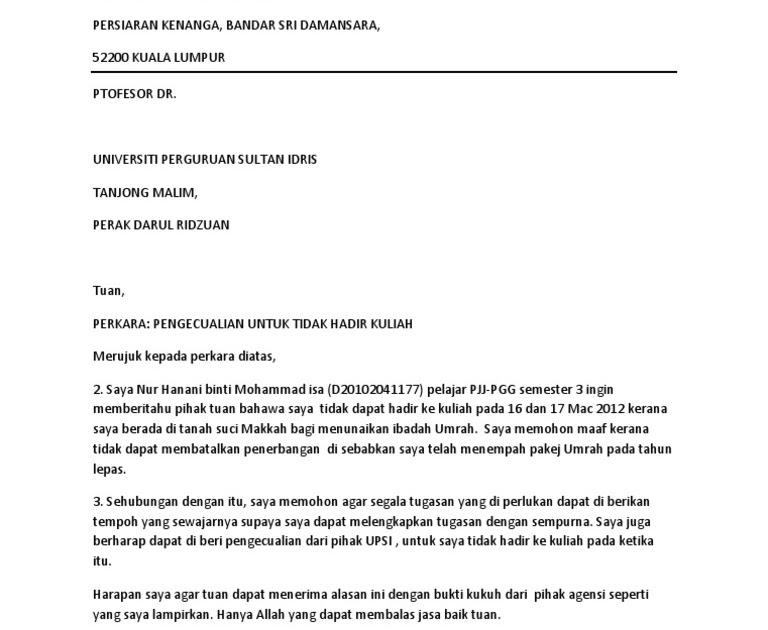 Surat Tidak Rasmi Mohon Maaf - GRasmi