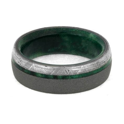 Sandblasted Wedding Band With Green Box Elder Wood And