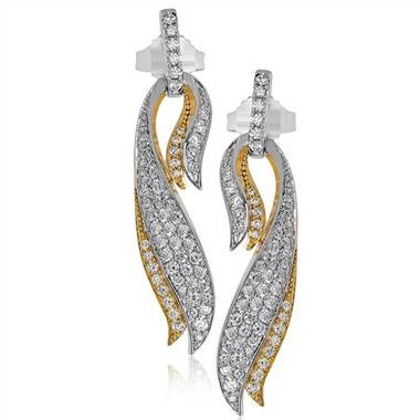 "Simon G DE255 Simon G ""Garden Collection"" Cascade Design Diamond Earrings at Solomon Brothers"