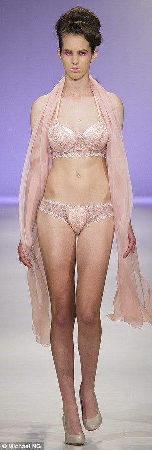 World first: The show was the first time incontinence lingerie has ever been featured on a cat walk, globally