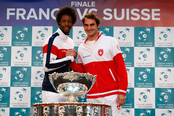 The second tie will be between Gael Monfils of France and Roger Federer of Switzerland at the draw during previews for the Davis Cup Tennis Final between France and Switzerland at the Place du Theatre on November 20, 2014 in Lille, France.