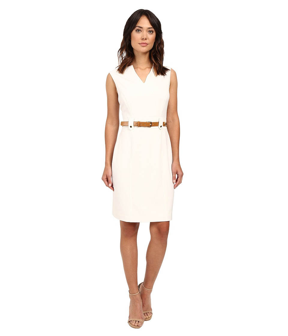 Tahari by ASL - V-Neck Sleeveless Sheath Dress w\/ Waist Hardware (Ivory White) Women's Dress