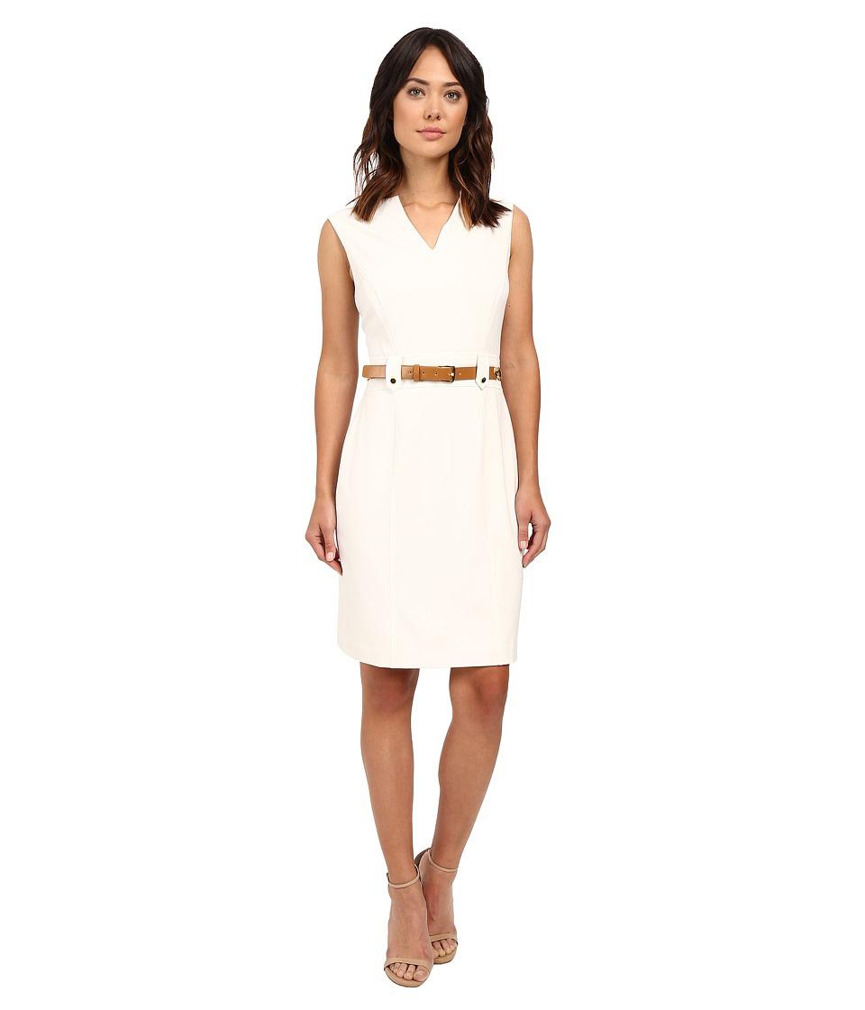 Tahari by ASL - V-Neck Sleeveless Sheath Dress w\/ Waist Hardware (Ivory White) Women's Dress