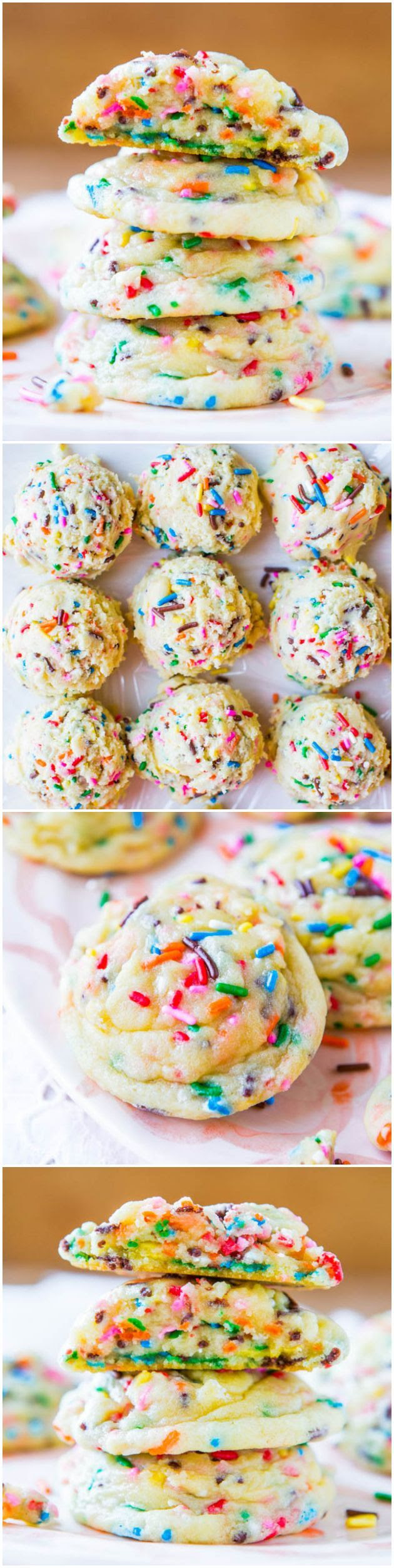 Softbatch Funfetti Sugar Cookies - Move over cake mix. These easy, super soft cookies are from scratch & loaded with sprinkles! Recipe at av...