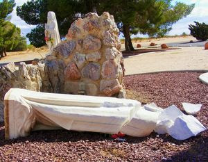 Last week vandals smashed the lovely statue of Our Lady of Lourdes which stood for many years in the shrine of the Catholic Church in California City. (Photo by Joyce Grant )