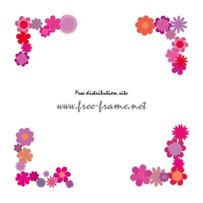 紫系の花のイラストを使用した四隅枠フレーム 無料商用可能枠