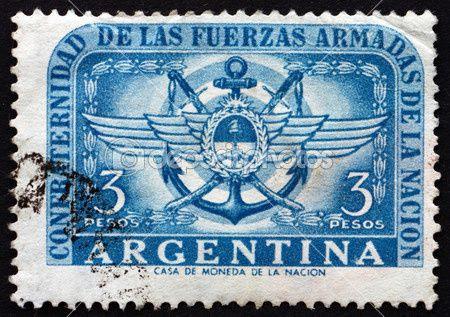 Illustration : un timbre des années 50 sur les Forces Aériennes en Argentine