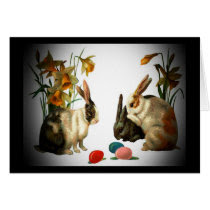 Easter Vintage Bunnies and Colored Egg Greeting Cards