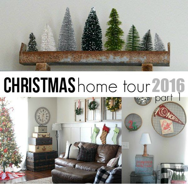 farmhouse christmas bottle brush trees vintage decor