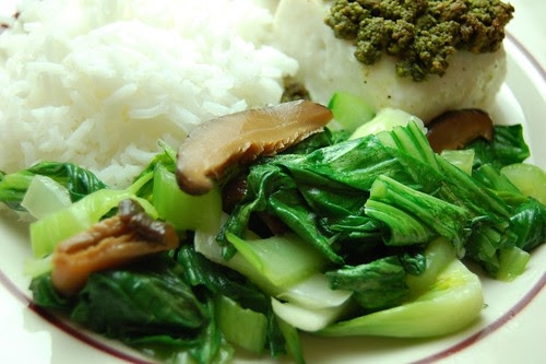 Bok Choy and Pickled Mushrooms