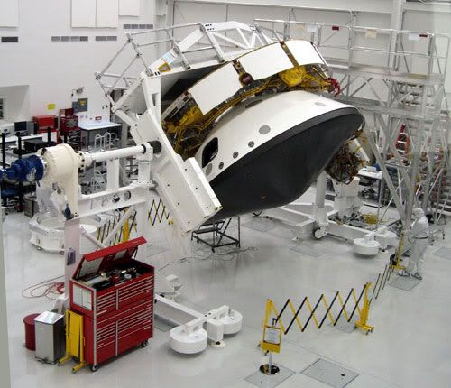 The back shell and cruise stage that will enclose and take the MARS SCIENCE LABORATORY to the Red Planet, after launch in late 2011.