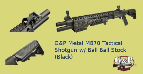 G&P Metal M870 Tactical Shotgun w/ Ball Ball Stock (Black)