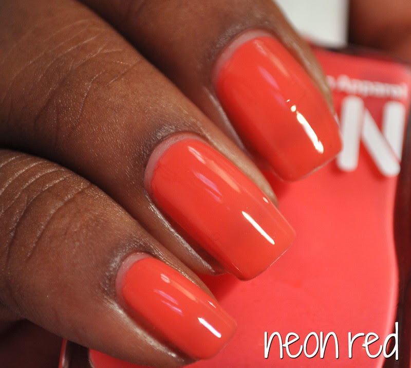 neon red coral creme nail polish