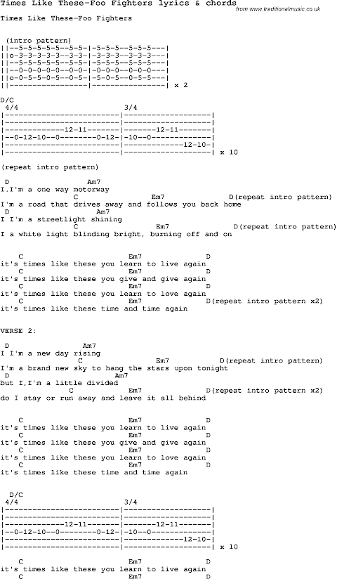 Foo Fighters Times Like These Lyrics And Chords