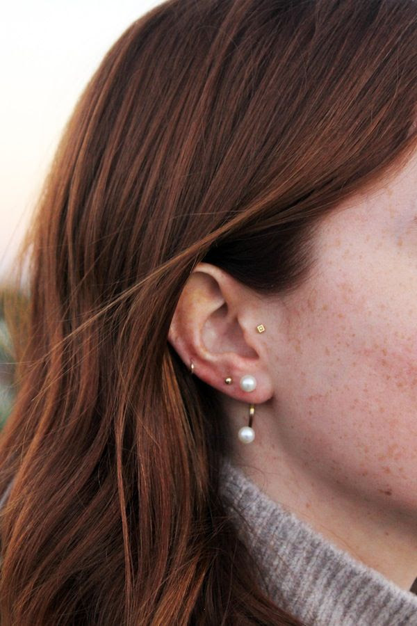 Le Fashion Blog Multiple Piercings Red Hair Mini Stud Delfina Delettrez Double Pearl Solo Earring Dainty Helix Side Hoop Model Libby Strachan Turtleneck Sweater
