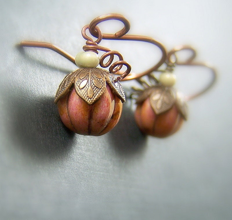 Pumpkin Earrings Vintaj Copper Czech Glass - Tiny Harvest